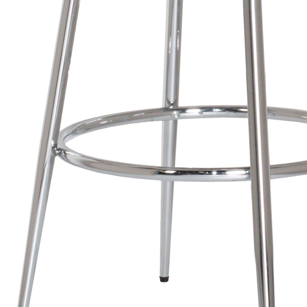 Hillsdale Bullock Rounded Disc Metal Swivel Counter Height Stool - Silver Gray Velvet