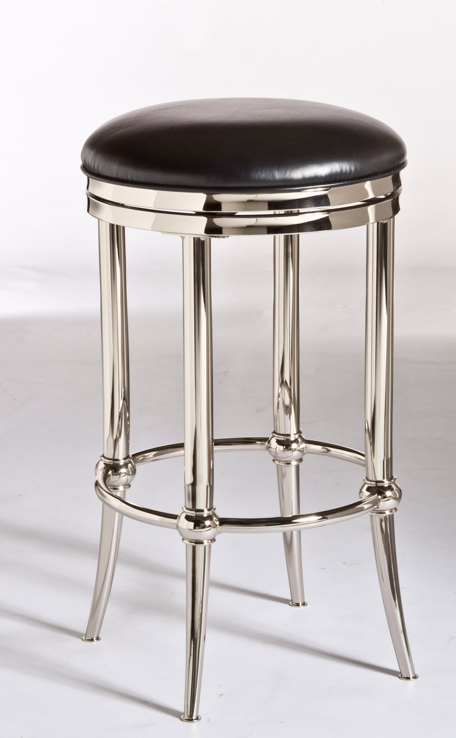 Hillsdale Cadman Backless Counter Stool - Black Vinyl/Shiny Nickel