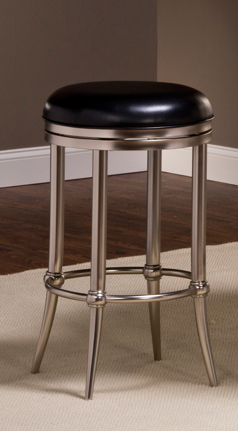 Hillsdale Cadman Backless Bar Stool Black Vinyl Dull