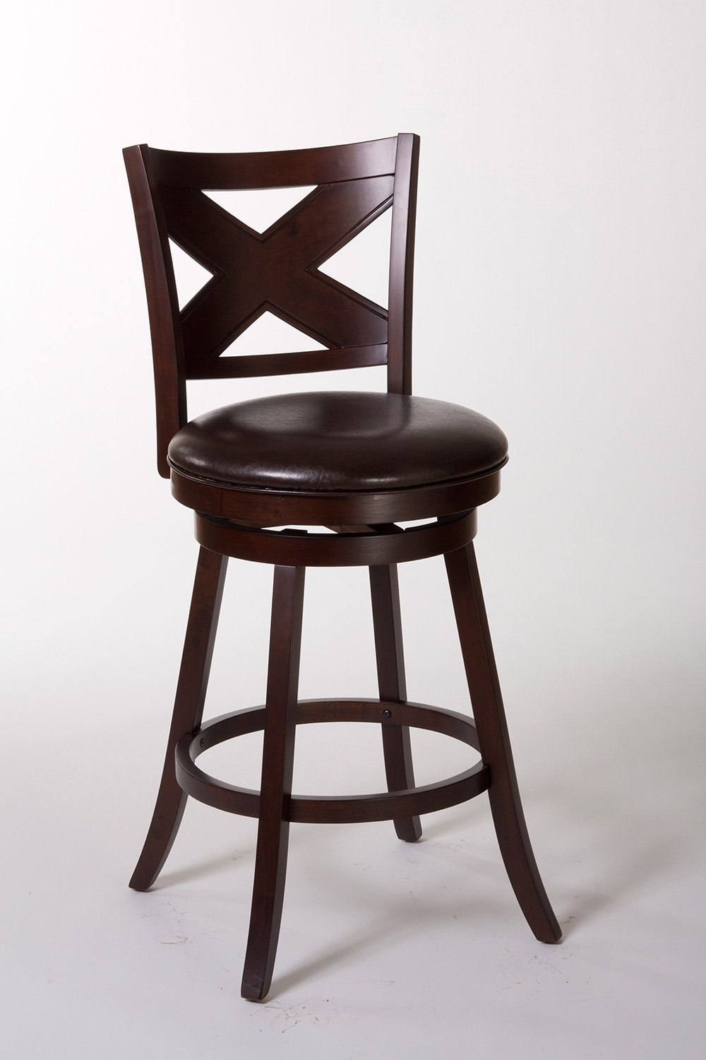 Hillsdale ashbrook swivel bar stool cherry brown pu
