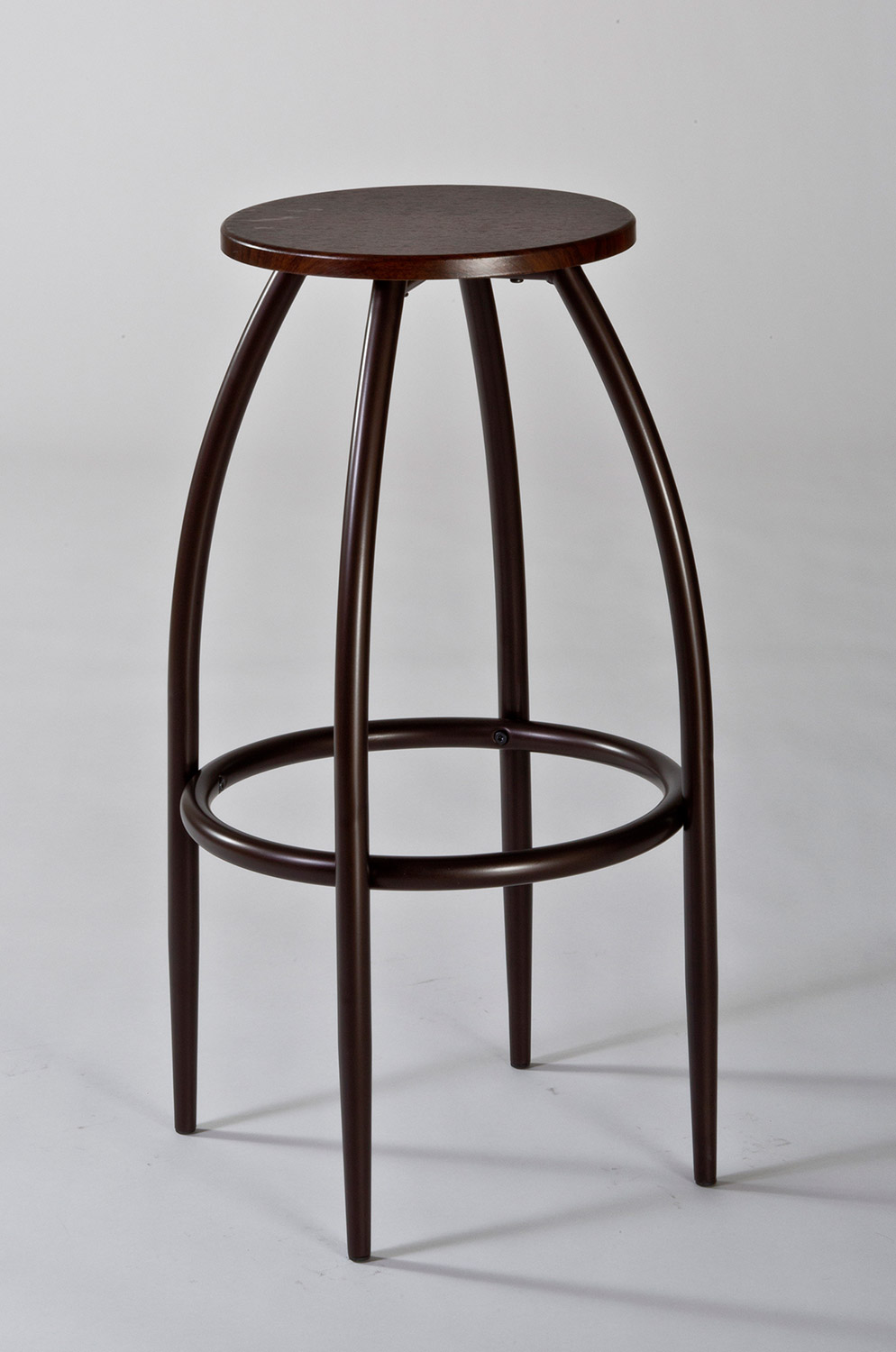 Hillsdale Bowen Backless Adjustable Bar Stool with Nested Leg - Dark Grey/Walnut