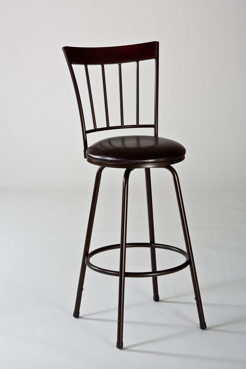 Hillsdale Cantwell Swivel Counter Bar Stool with Nested Leg - Brown/Brown PU