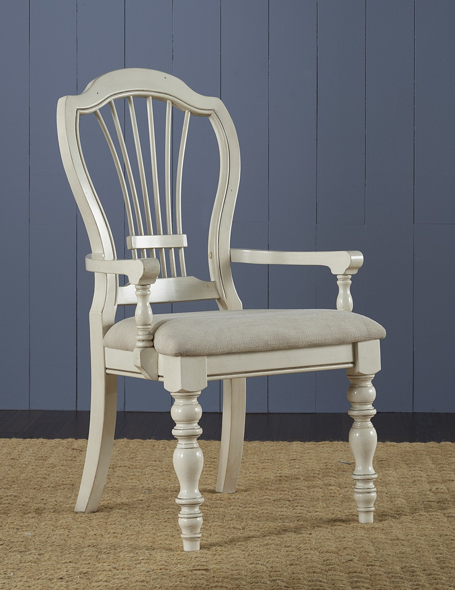 Hillsdale Pine Island Wheat Back Arm Chair - Old White - Ivory