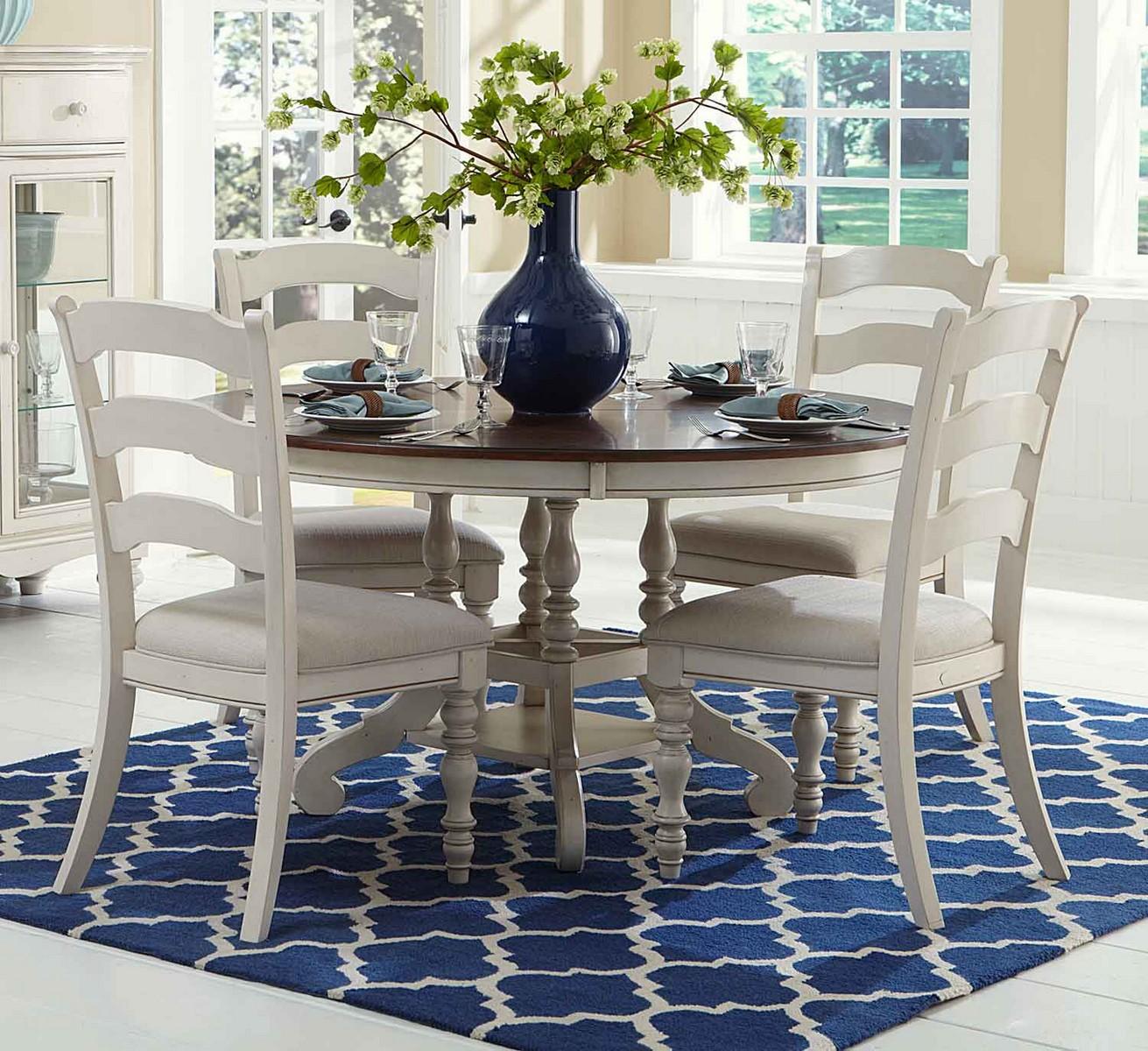 Hillsdale Pine Island 5PC Round Dining Set   Old White
