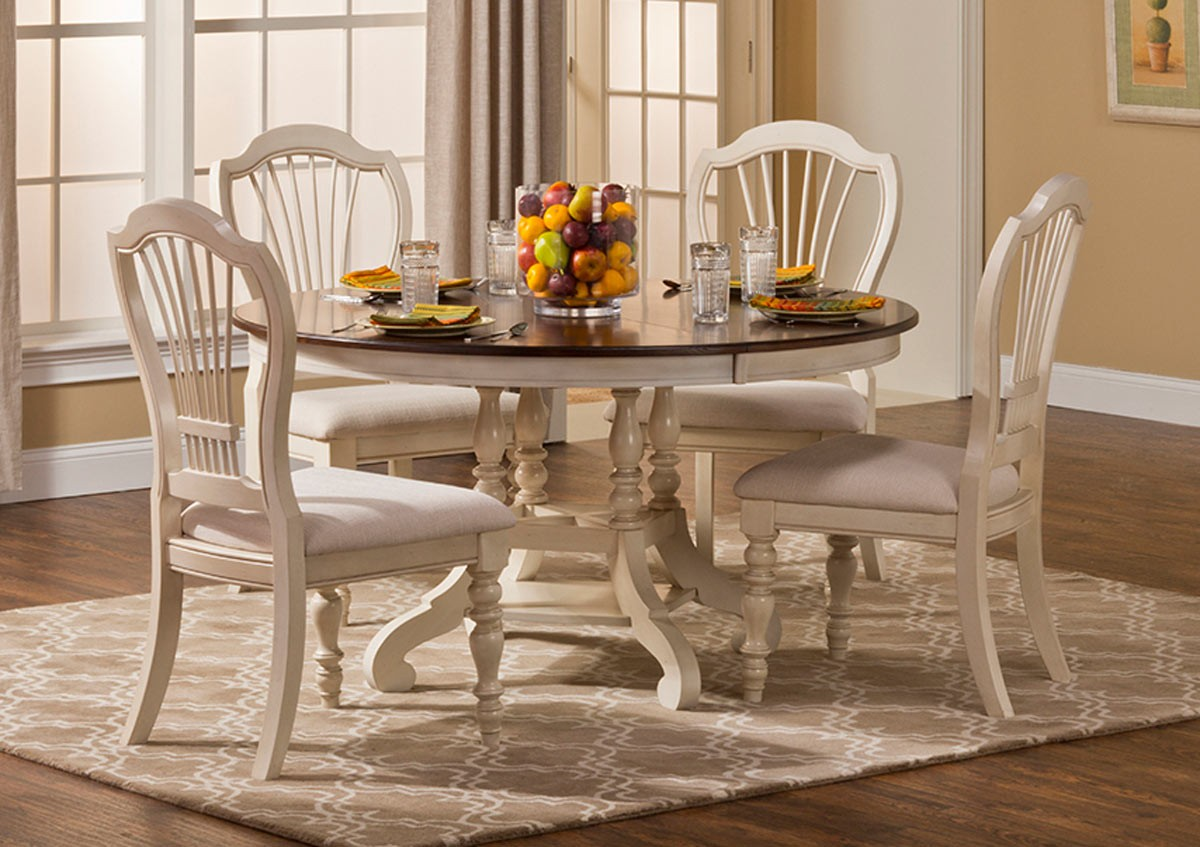 Hillsdale Pine Island 5pc Round Dining Set Old White