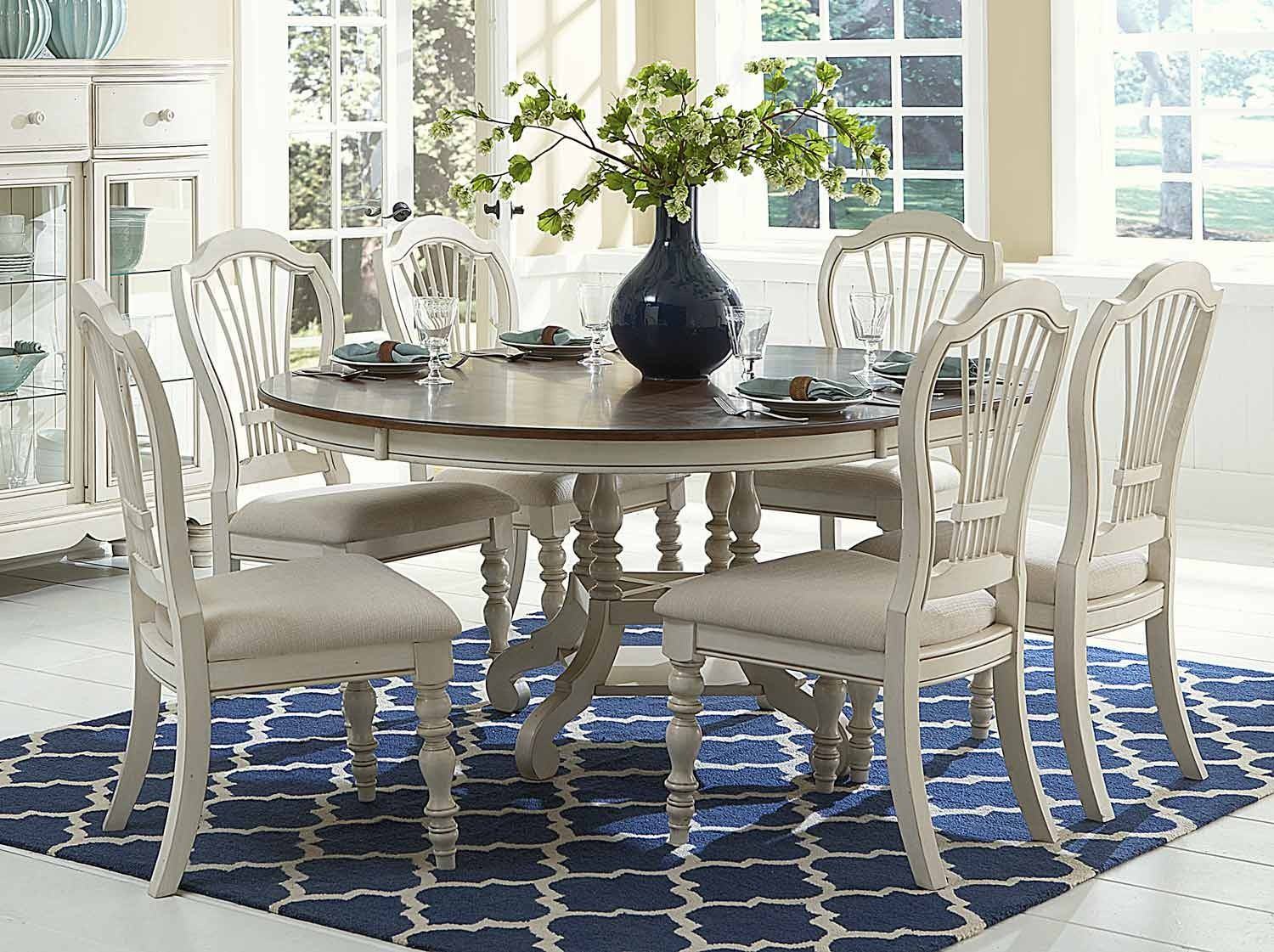Hillsdale Pine Island 7pc Round Dining Set Old White