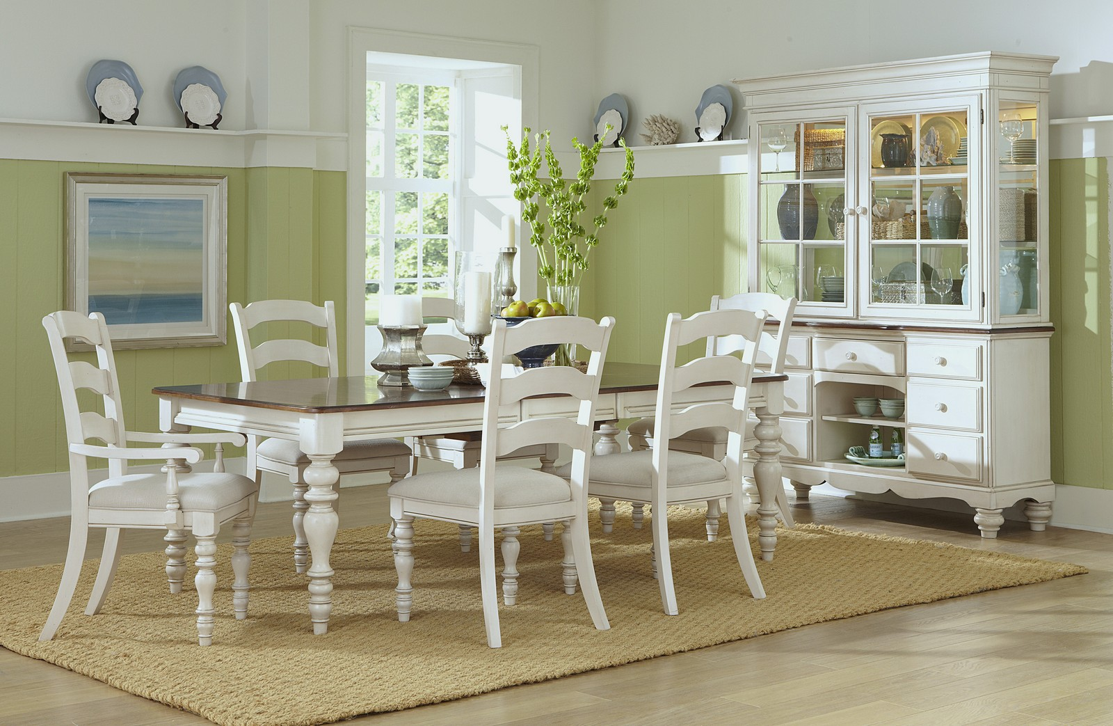 Charming Hillsdale Pine Island 7 PC Dining Set With Ladder Back Chairs   Old White