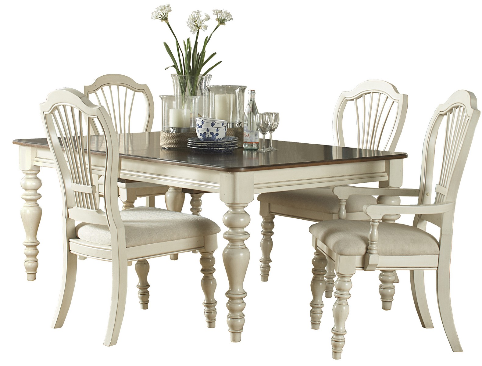 Hillsdale Pine Island 5 PC Dining Set with Wheat Back Chairs - Old White