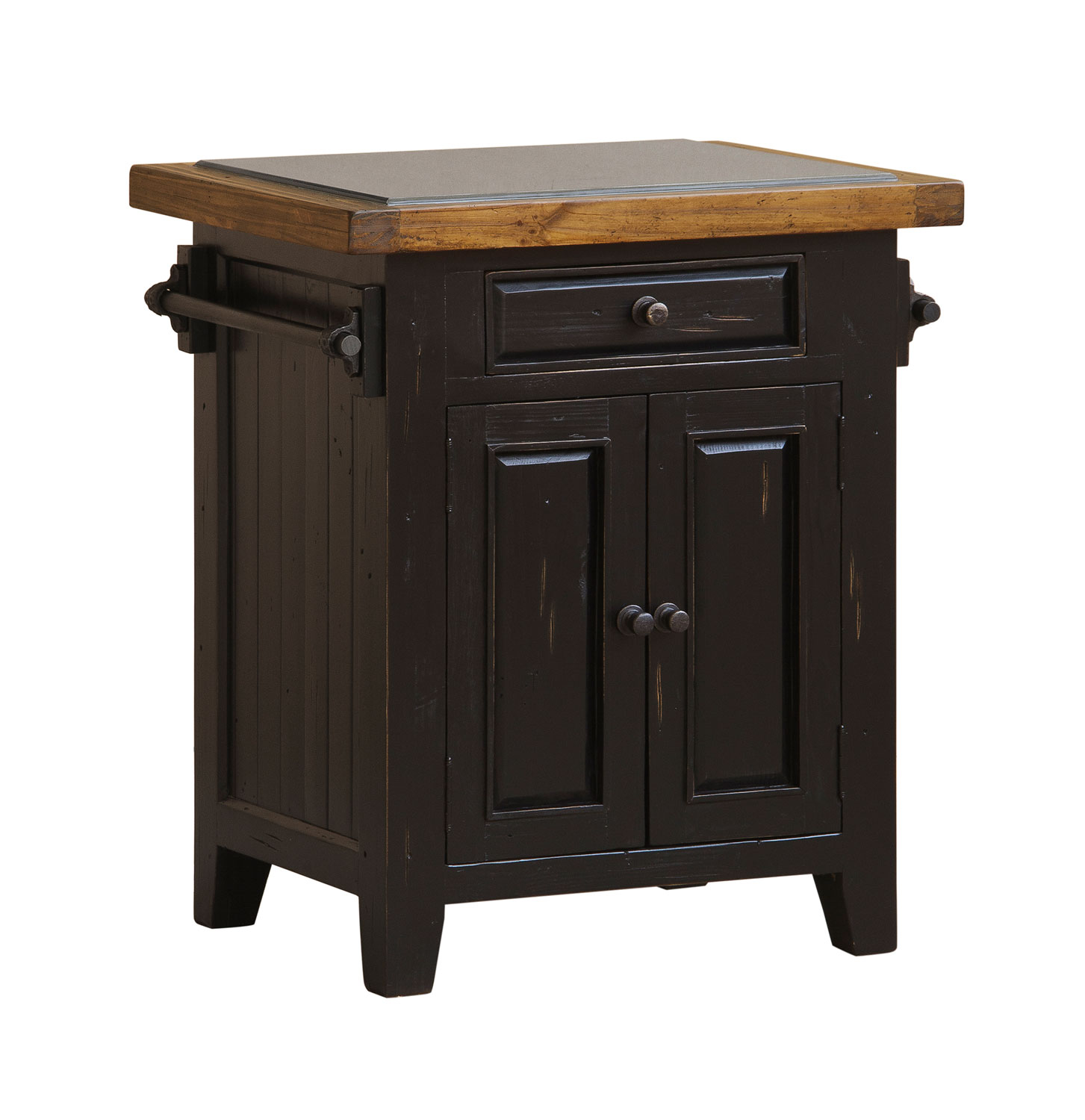 Hilale Tuscan Retreat Small Granite Top Kitchen Island Black Oxford