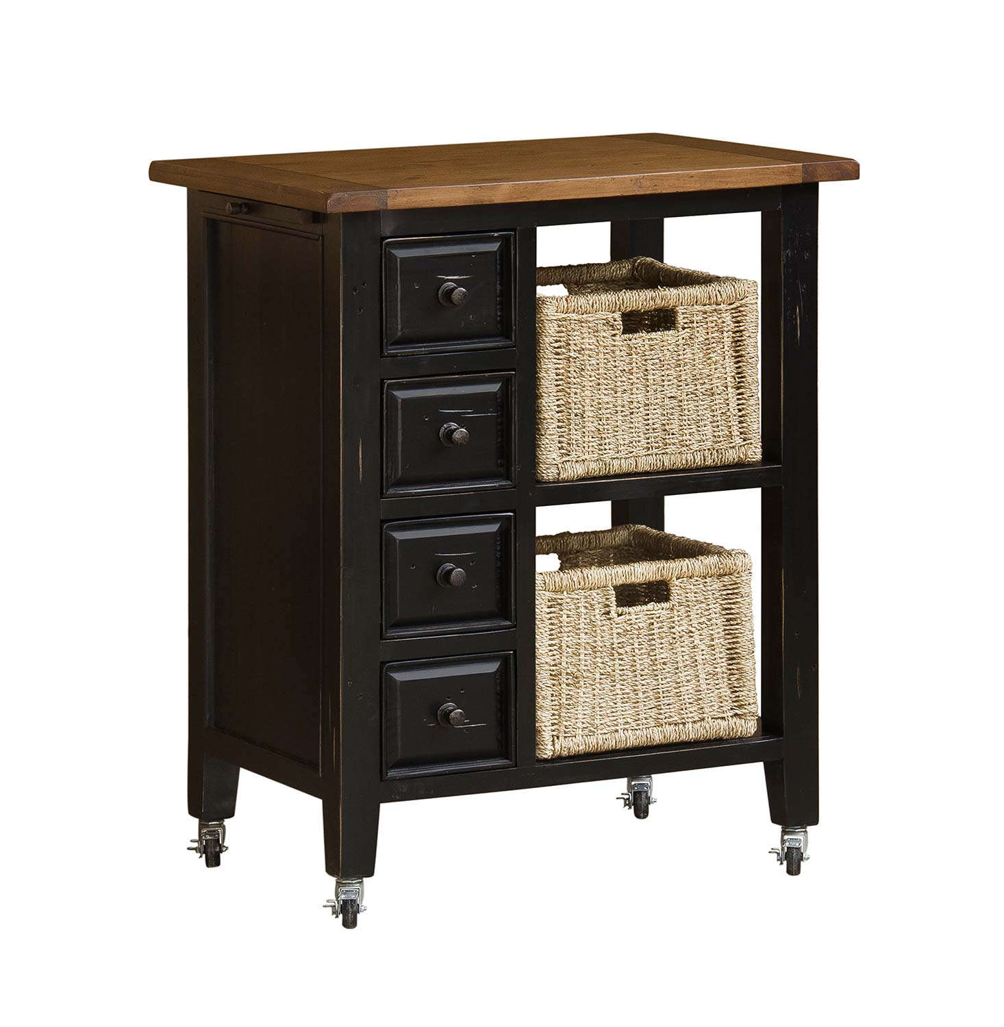 Hillsdale Tuscan Retreat Kitchen Cart with 2 Basket Storage ...