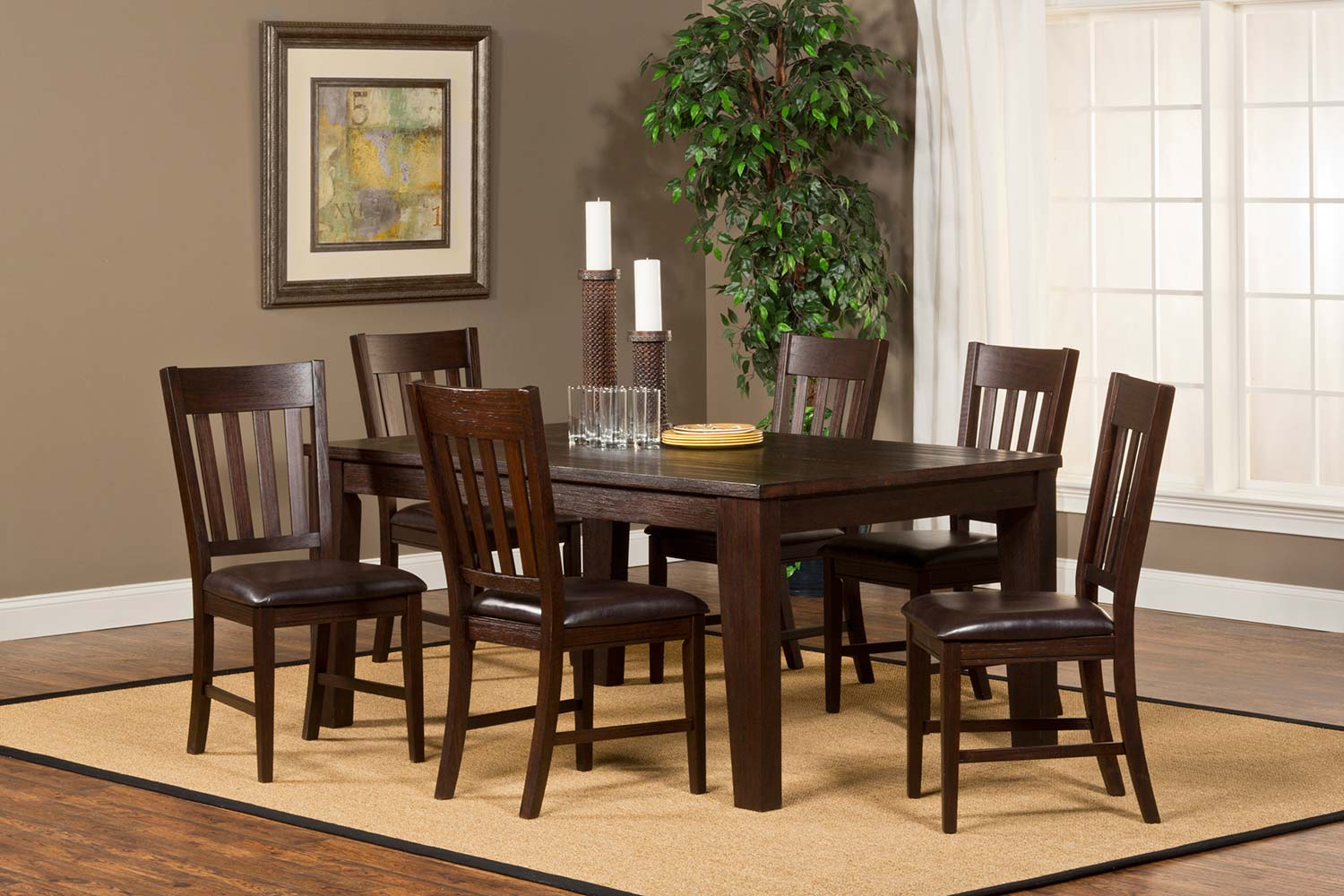 Hillsdale Brooklawn Dining Set Smoke Brown Dark Brown