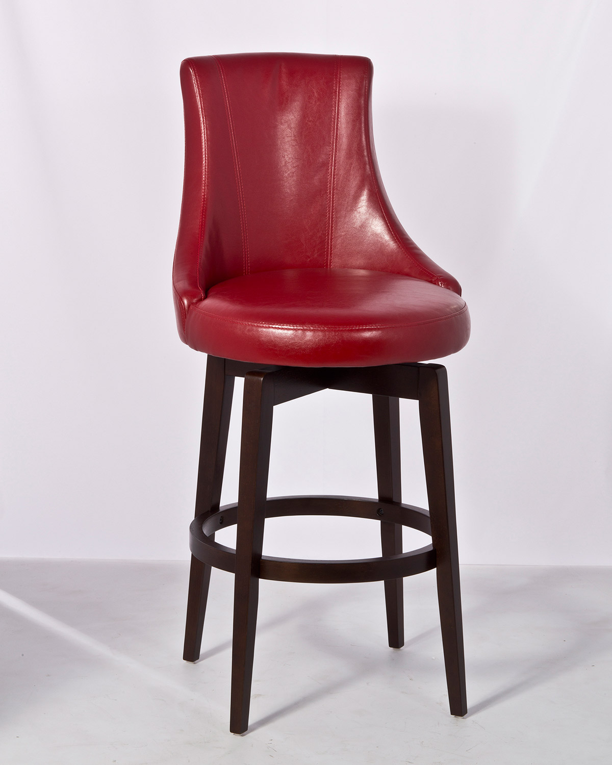 Hilale Santa Anita Swivel Bar Stool W Red Vinyl Cuccino