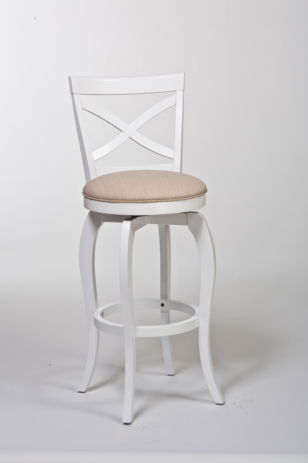 Hillsdale ellendale swivel bar stool white beige