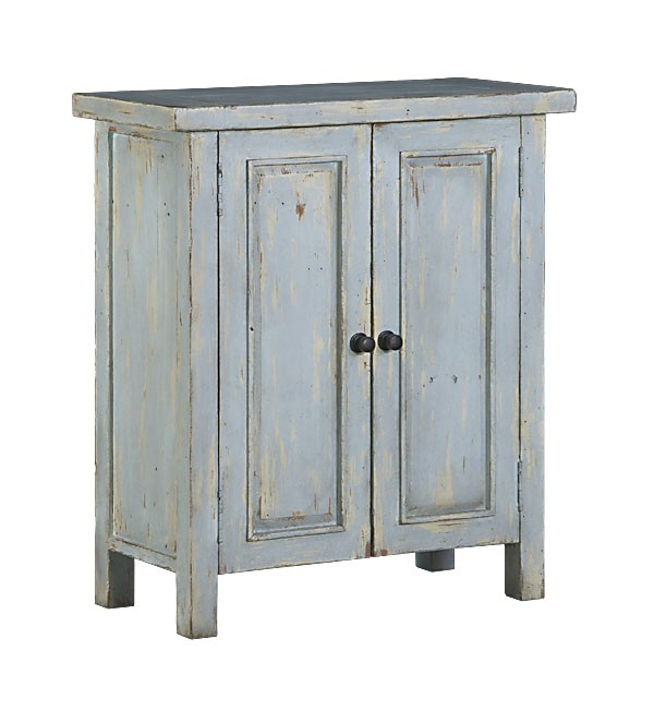 Attirant Hillsdale Tuscan Retreat 2 Door Small Cabinet   Sea Blue With Antique Pine  Top
