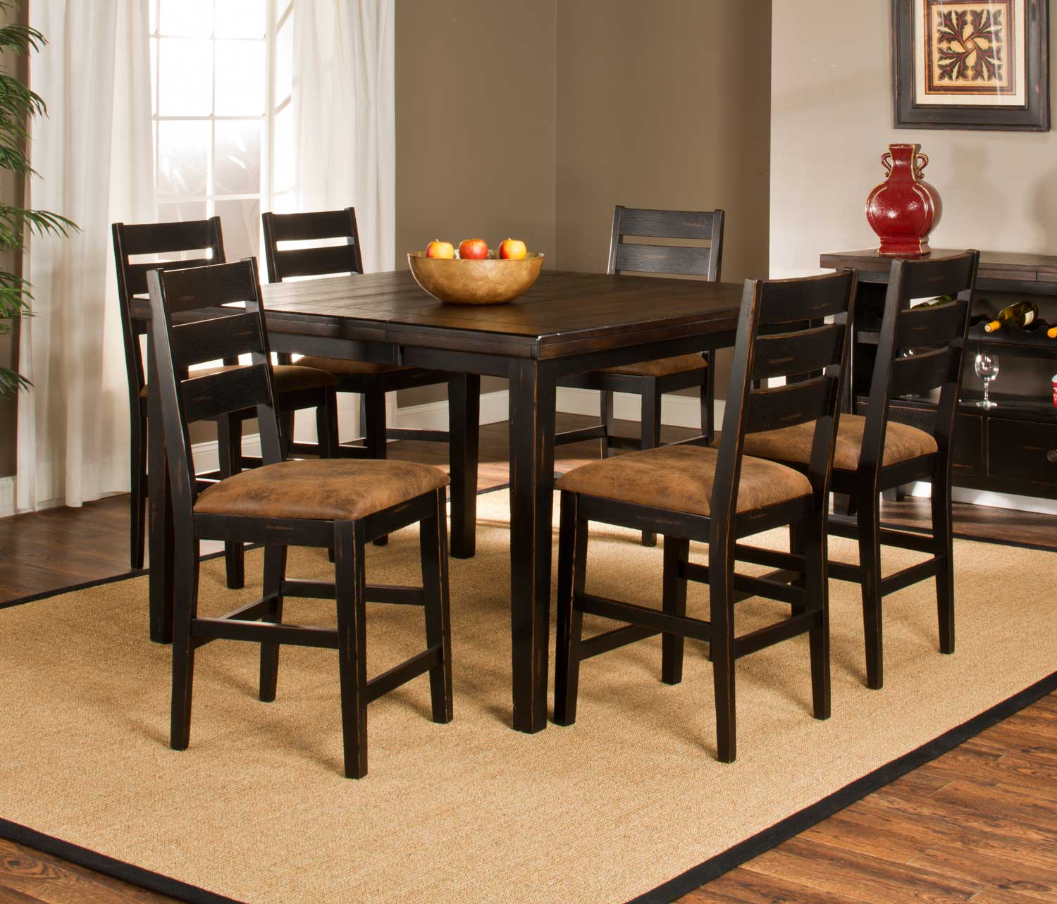 Hillsdale Killarney Counter Height 7 Piece Dining Set   Black/ Antique Brown