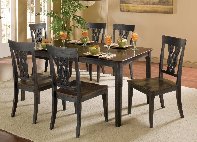 Hilale Lafayette 7 Pc Dining Set Black Gray With Walnut 5395dtbc7 Hilalefurnituremart