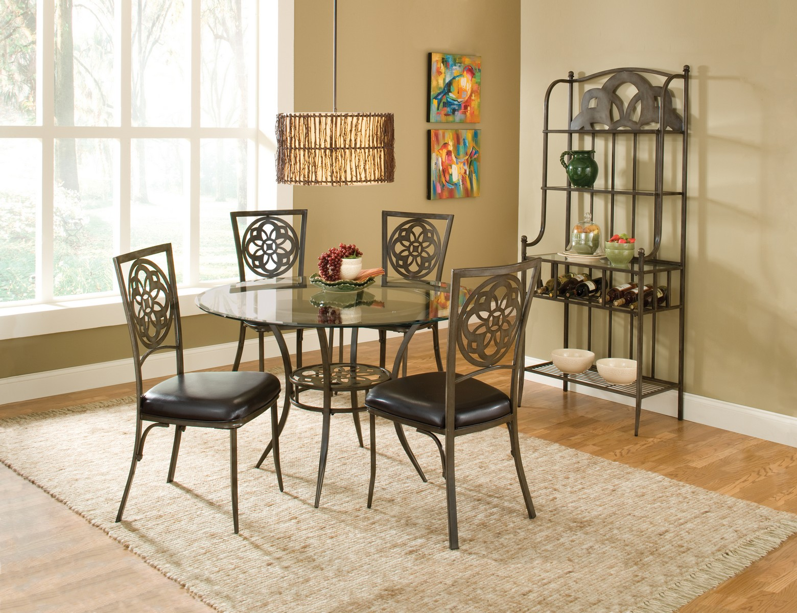 Hillsdale Marsala 5 PC Dining Set - Gray with Brown Rub - Black PU