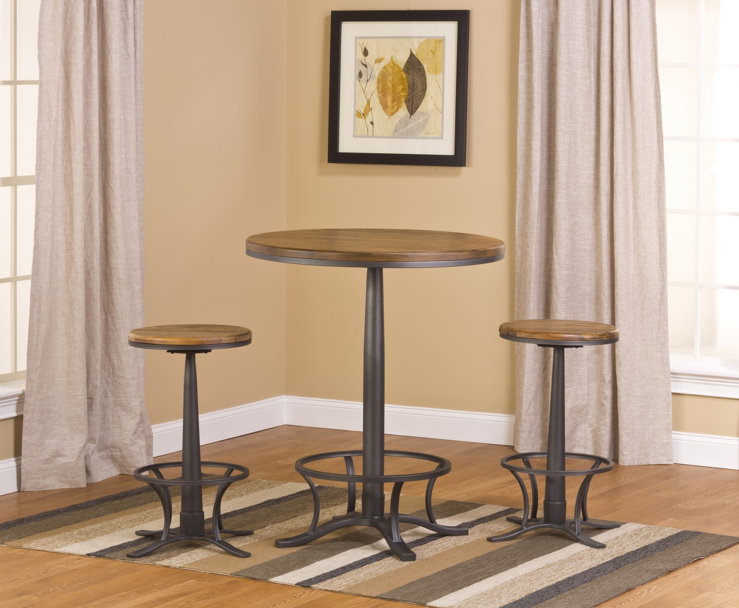 Hillsdale Westview Bar Height Bistro with Rivage Stools - Steel Gray/ Oak/ Black