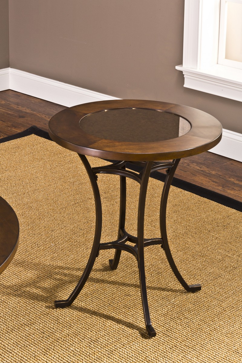 Hillsdale Montclair Round End Table   Wood Border With Mirrored Glass Top/  Metal   Copper