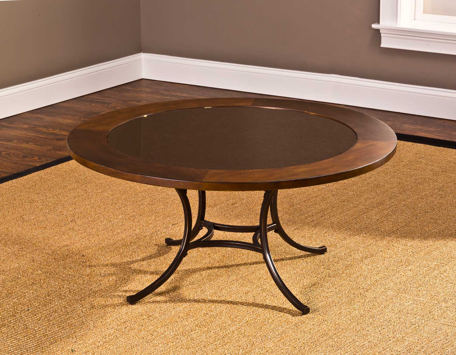 Hillsdale Montclair Round Coffee Table Wood Border With Mirrored Glass Top Metal Copper