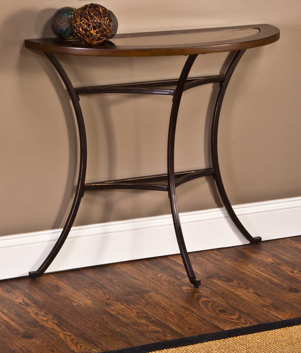 Hillsdale Montclair Console Table   Wood Border With Mirrored Glass Top/  Metal   Copper Gold