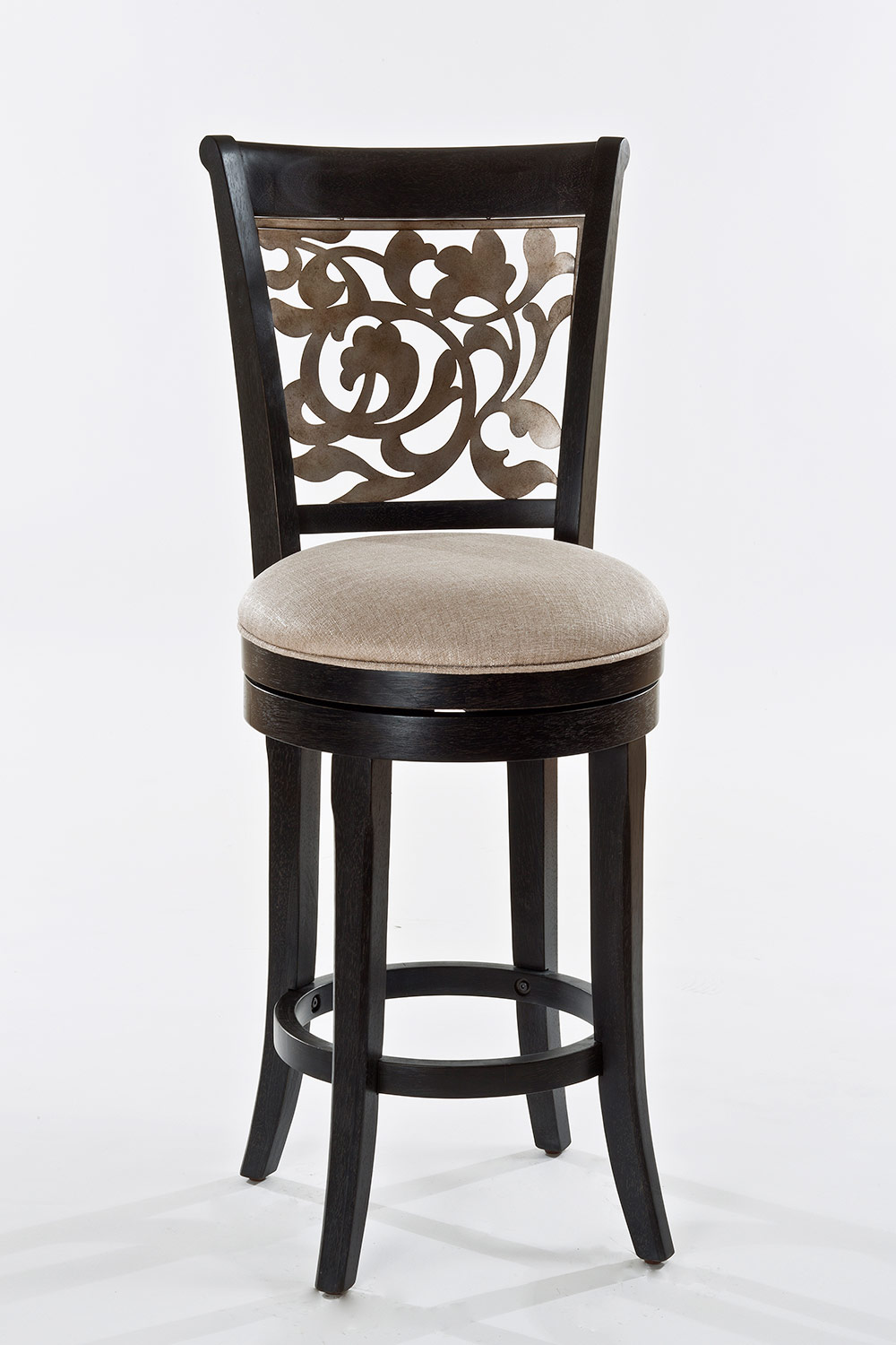 Hillsdale Bennington Swivel Bar Stool - Black Distressed Gray - Putty Fabric