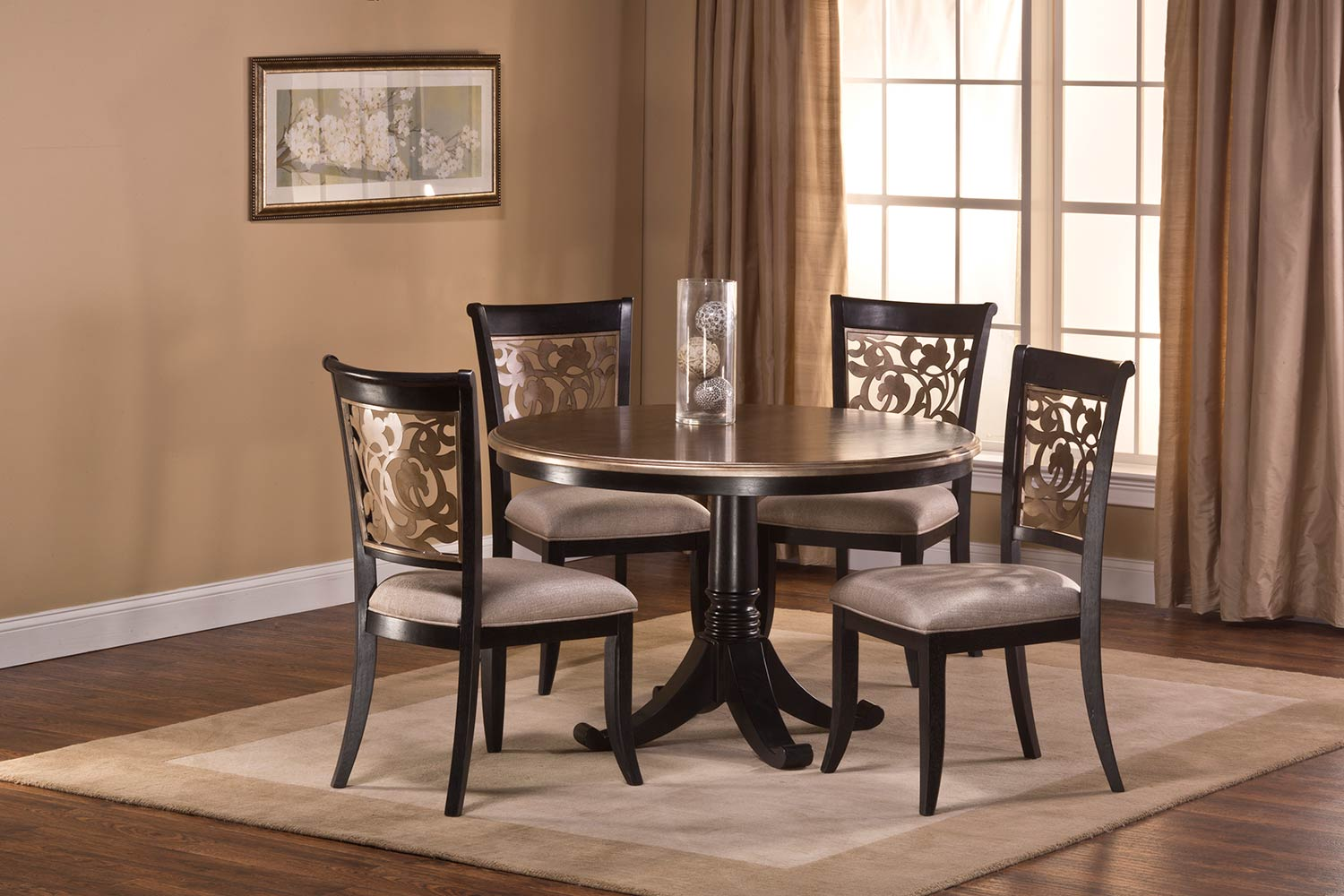 Hillsdale Bennington Dining Set - Black Distressed Gray