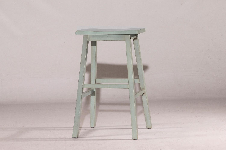 Hilale Moreno Non Swivel Backless Bar Stool Blue Gray Ecru Fabric