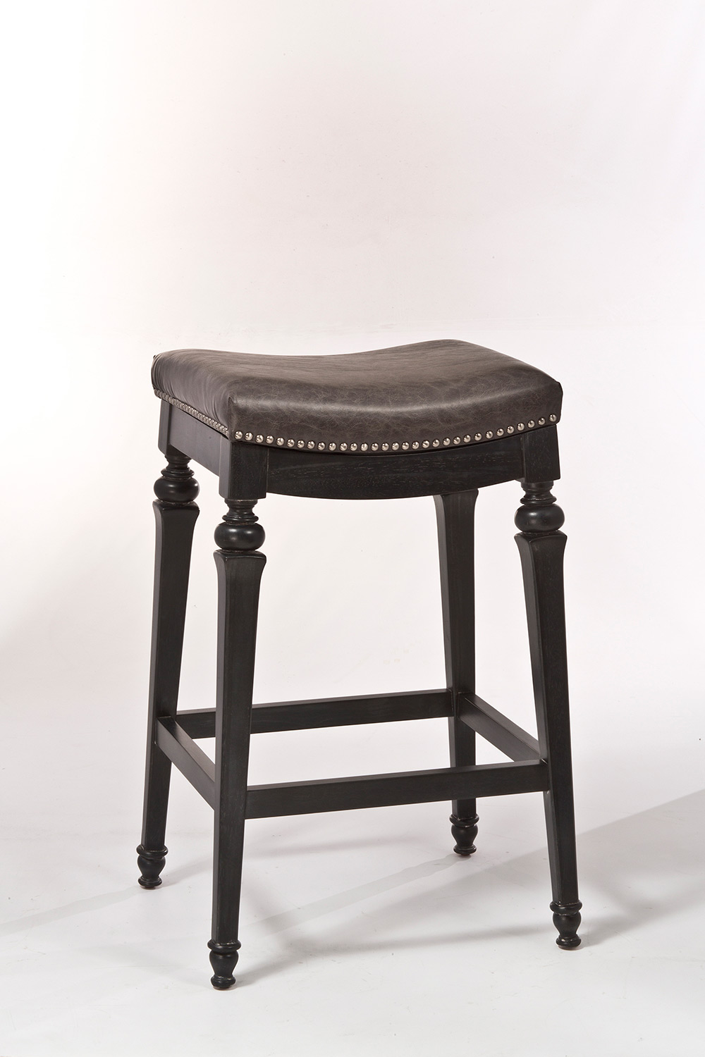 Hillsdale Vetrina Backless Non-Swivel Counter Stool - Black/Gold Rub - Charcoal Faux Leather