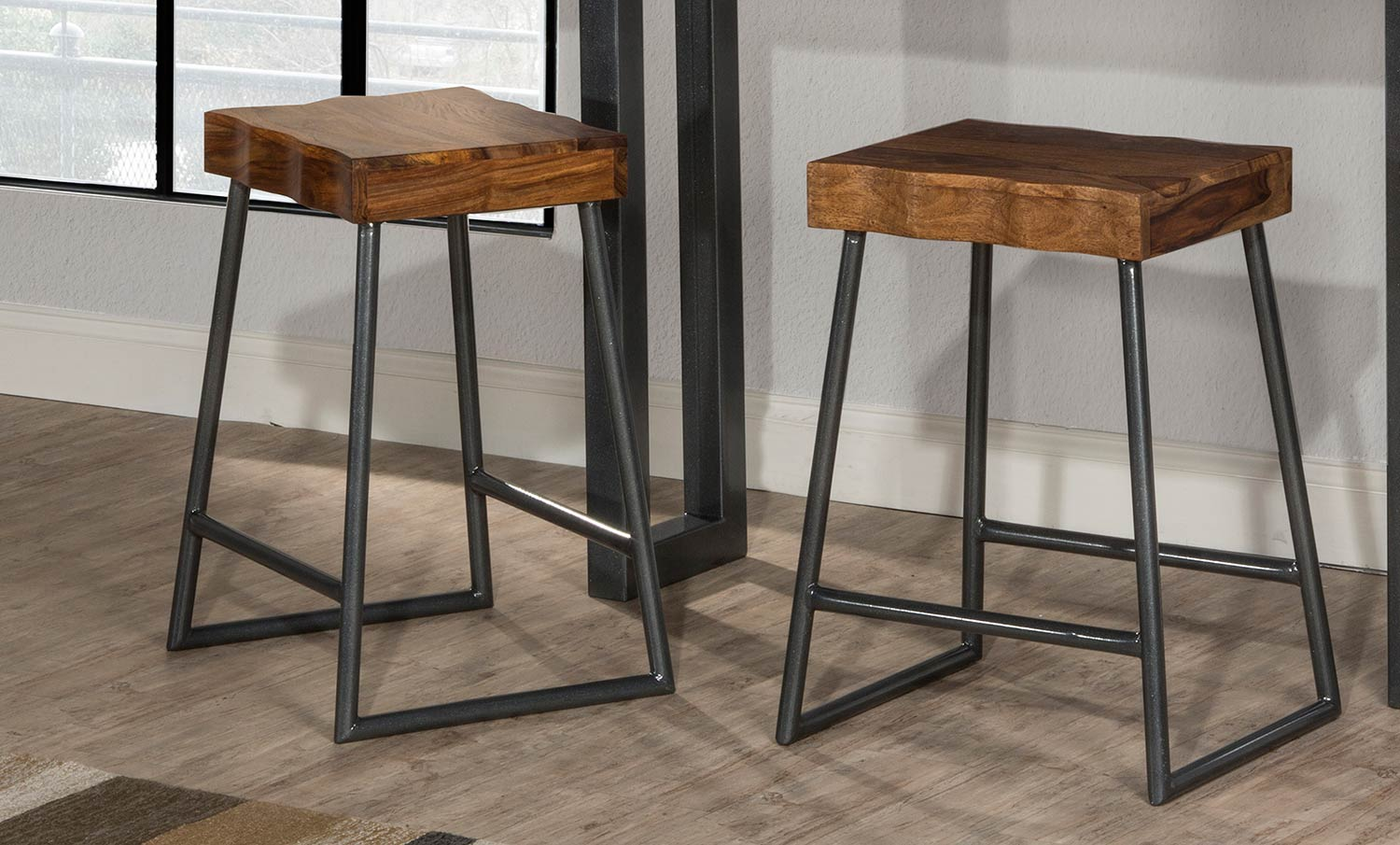 Hilale Emerson Non Swivel Backless Counter Stool Natural Sheesham Wood Gray Metallic