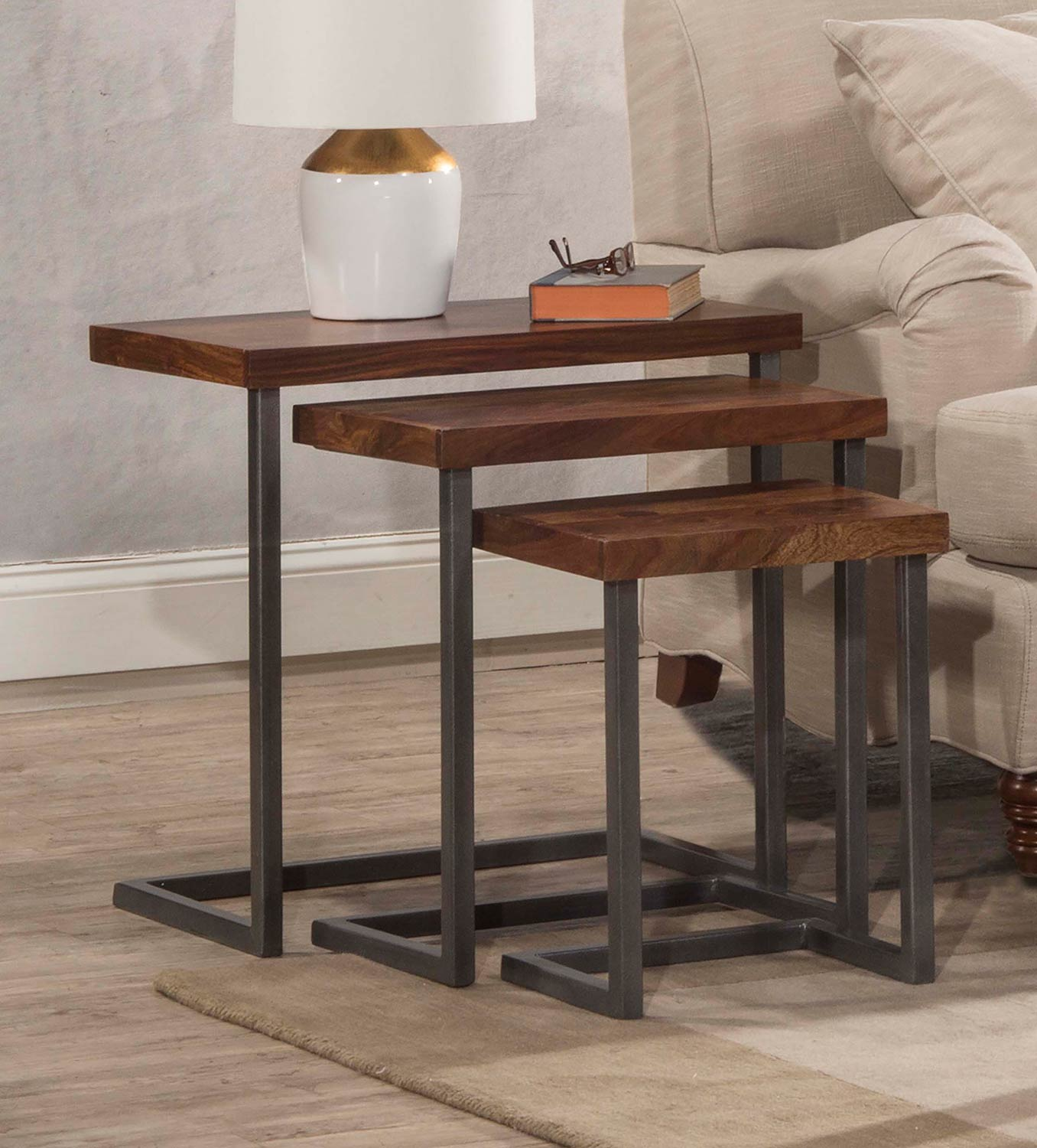 Hillsdale Emerson 3-Set Nesting Tables - Sheesham/Grey