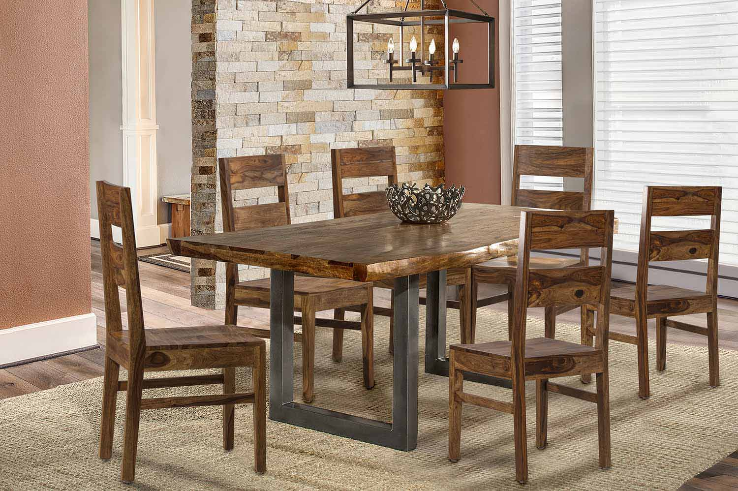 Hillsdale Emerson 7-Piece Rectangle Dining Set - Natural Sheesham