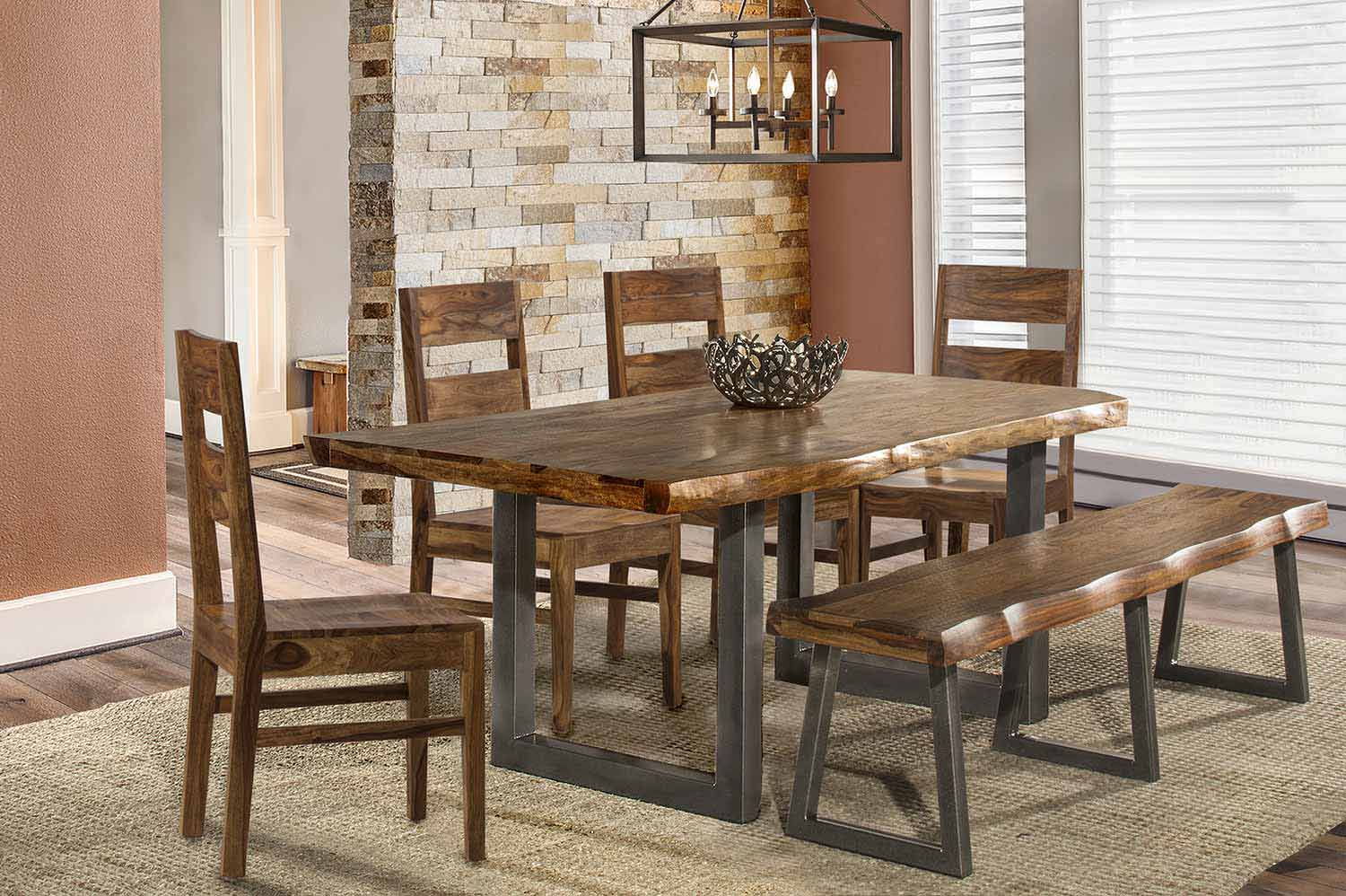 Hillsdale Emerson 6 Piece Rectangle Dining Set With Bench   Natural Sheesham