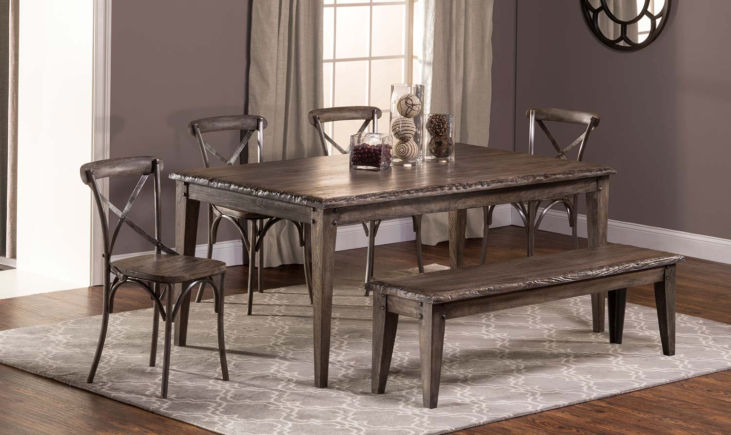 Hillsdale Lorient 6 PC Rectangle Dining Set with X Back Chair and ...