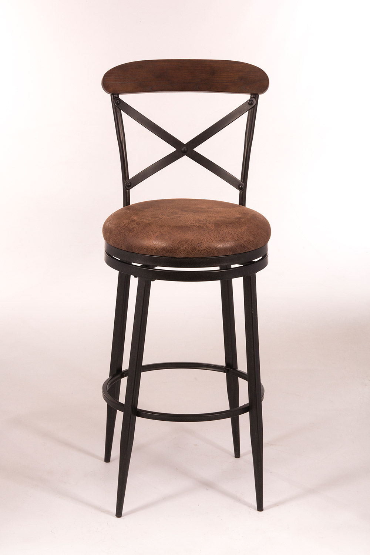 hillsdale henderson swivel bar stool black brown wood top 5700 832