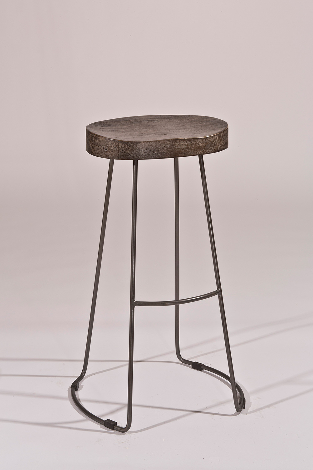 Hilale Hobbs Tractor Non Swivel Bar Stool Distressed Black Pewter