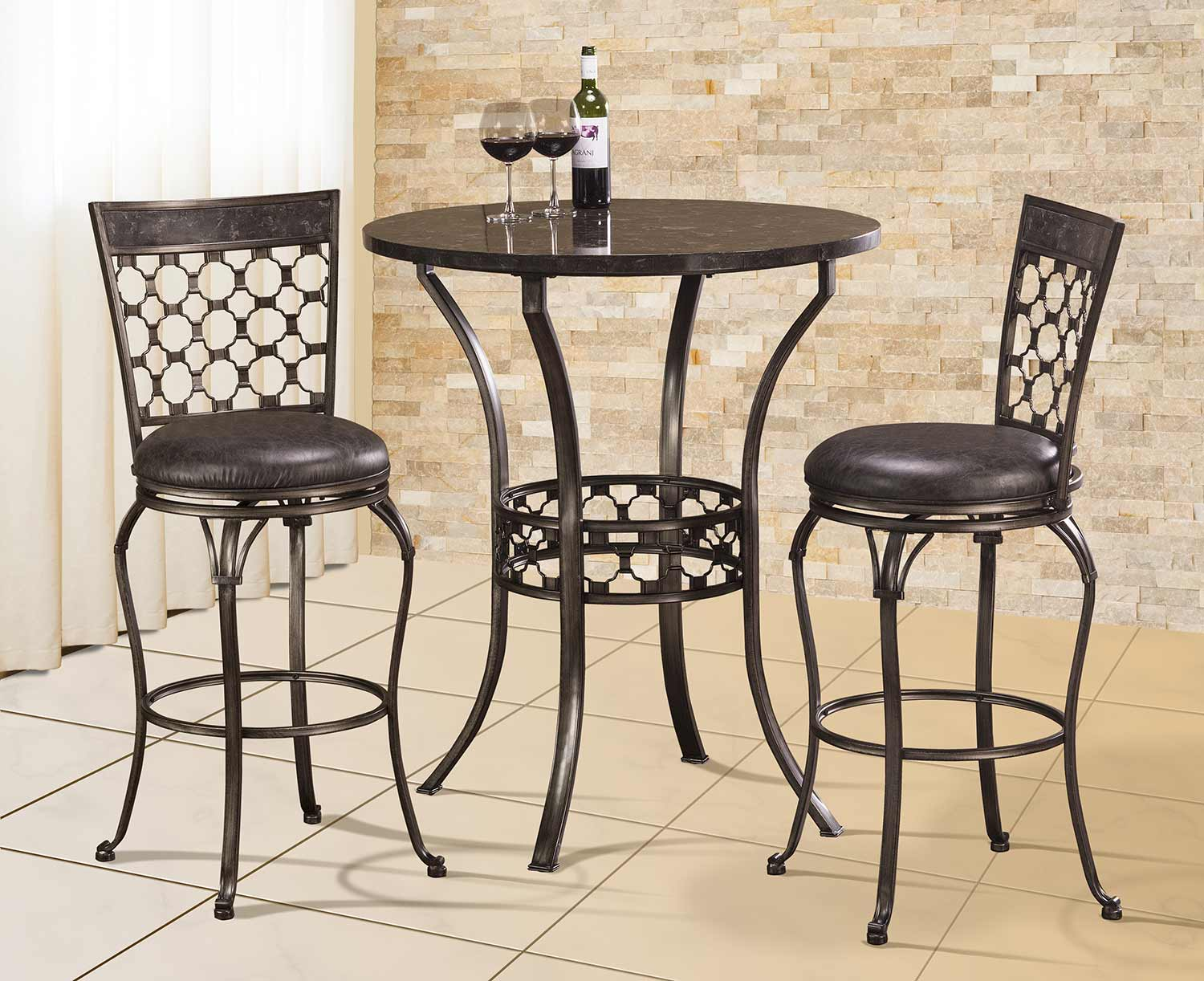 Hillsdale Brescello 3 Piece Bar Height Bistro Dining Set   Antique  Pewter/Blue Stone