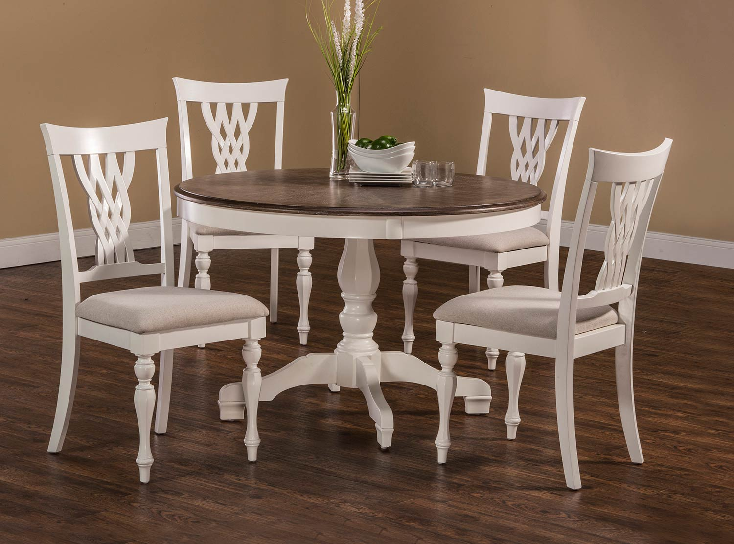Hilale Bayberry Emby 5 Piece Round Dining Set White