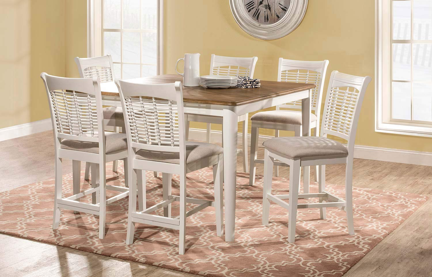 Hillsdale Bayberry 7 Piece Counter Height Dining Set   White/Driftwood