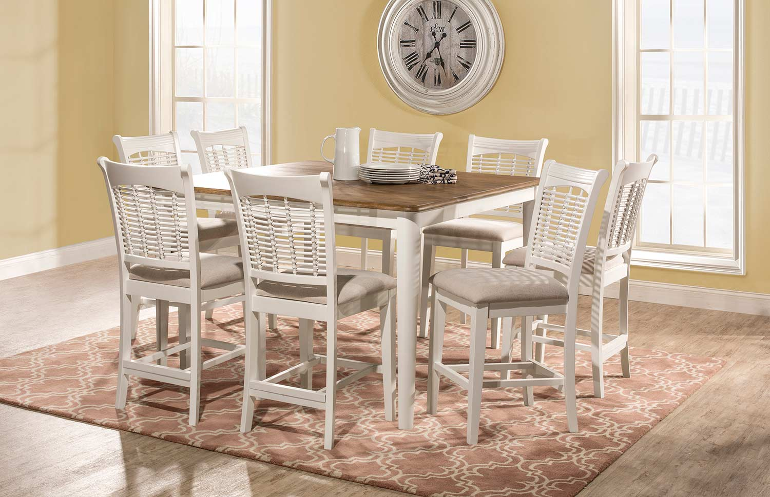 Hillsdale Bayberry 9 Piece Counter Height Dining Set   White/Driftwood