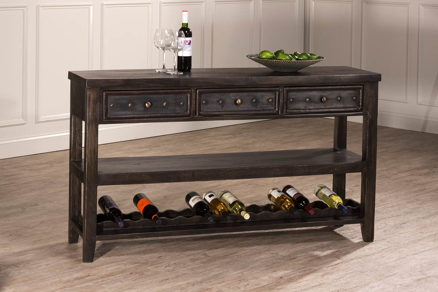Hillsdale Bolt Sofa Table With Wine Rack - Dark Gray