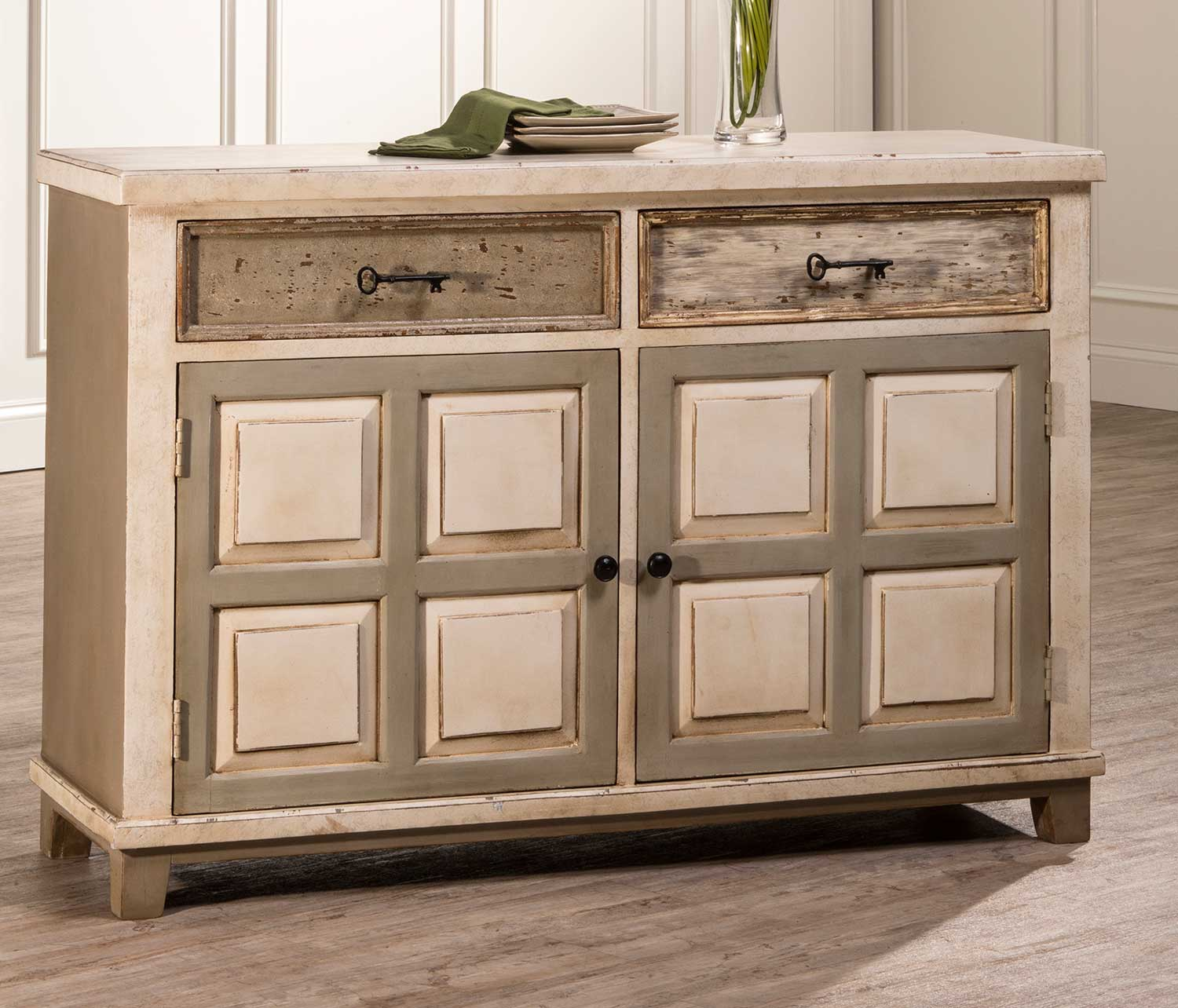 Hillsdale LaRose Console Table With 2 Door Storage   Handpainted White/Gray