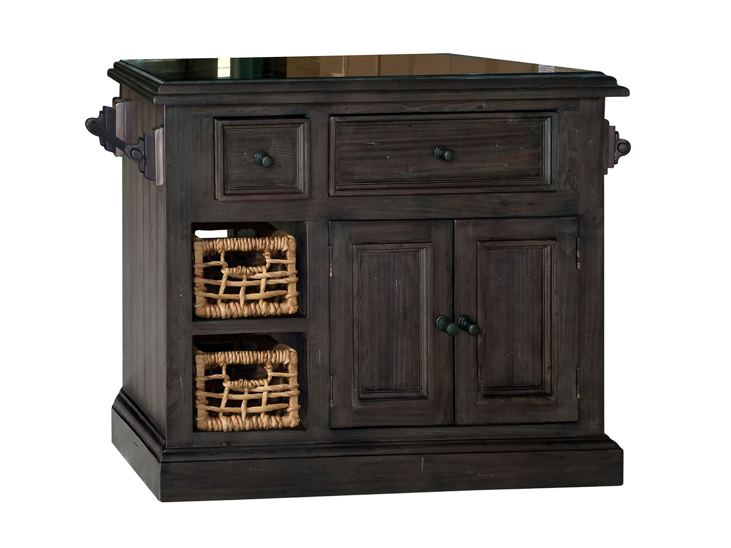 Hillsdale Tuscan Retreat Small Granite Top Kitchen Island with 2 Baskets - Weathered Gray
