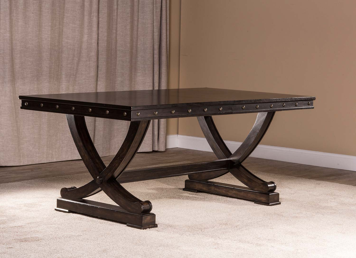 Beau Hillsdale Santa Fe Trestle Dining Table   Distressed Espresso