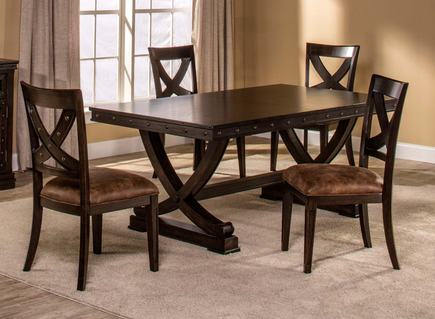 Beautiful Hillsdale Santa Fe 5 Piece Trestle Dining Set   Distressed Espresso