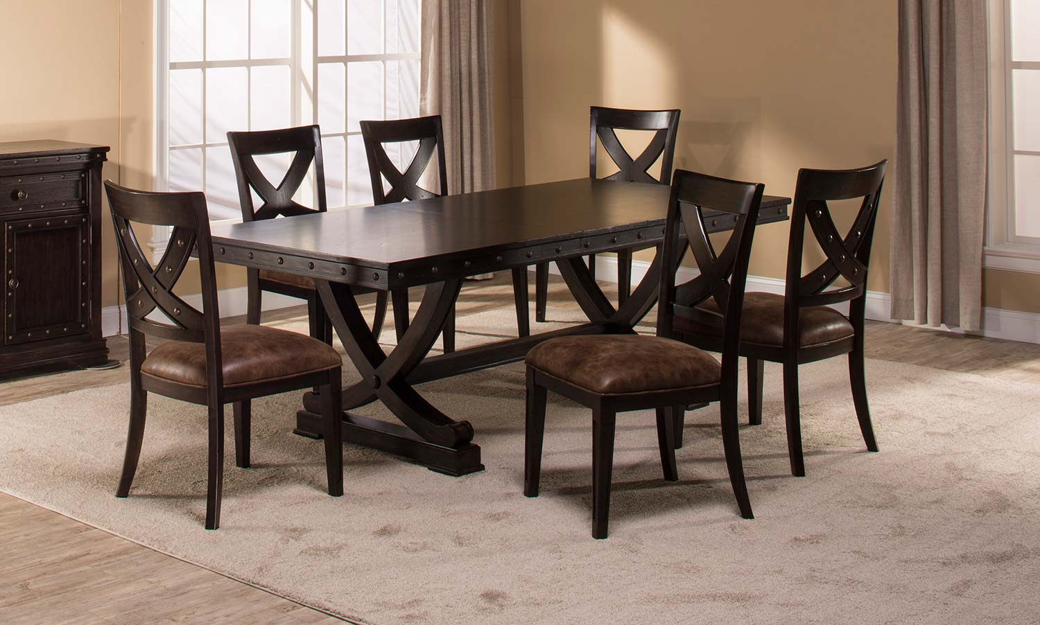 Hillsdale Santa Fe 7 Piece Trestle Dining Set   Distressed Espresso