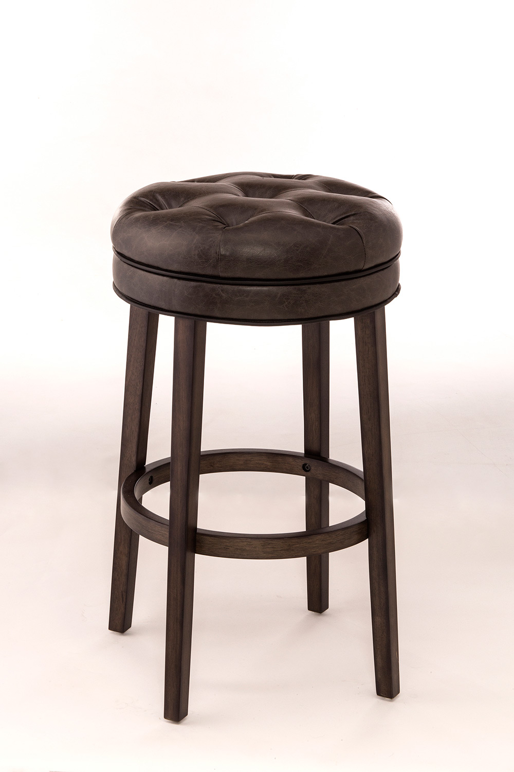 Hillsdale Krauss Backless Swivel Counter Stool Gray Faux