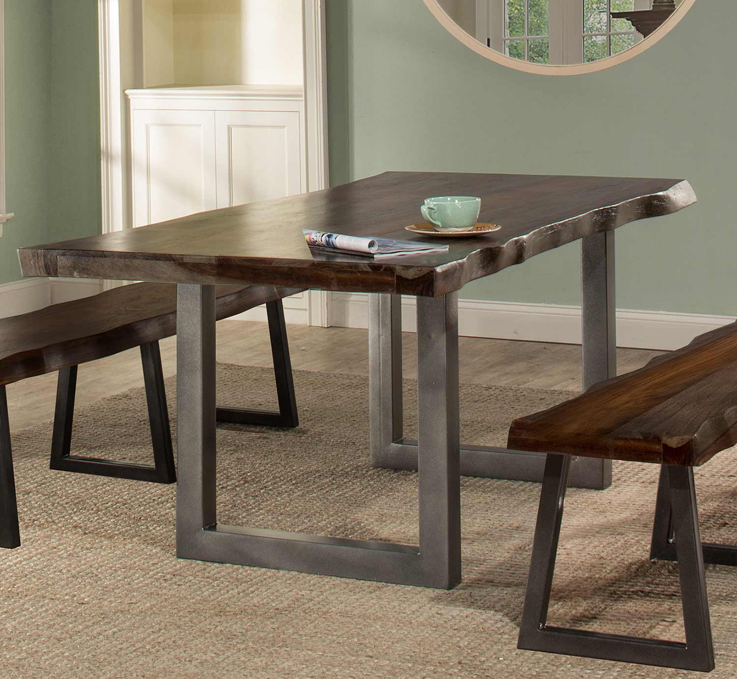 Hilale Emerson Rectangle Dining Table Gray Sheesham