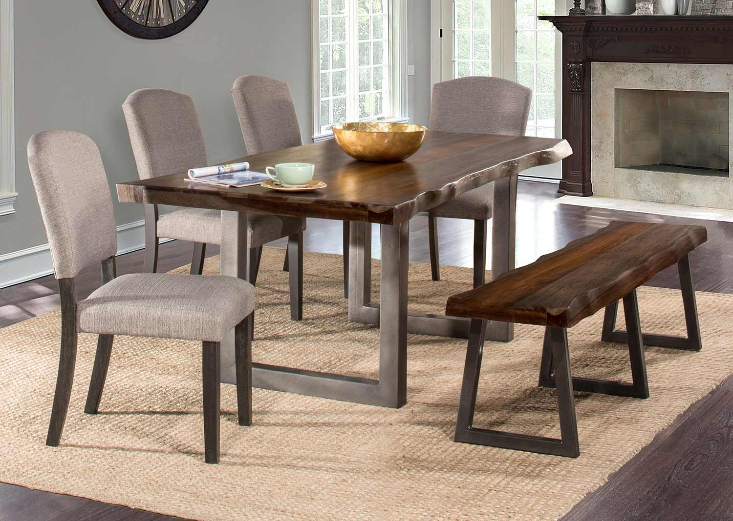 Hillsdale Emerson 6 Piece Rectangle Dining Set With One Bench And Four Chairs Gray Sheesham