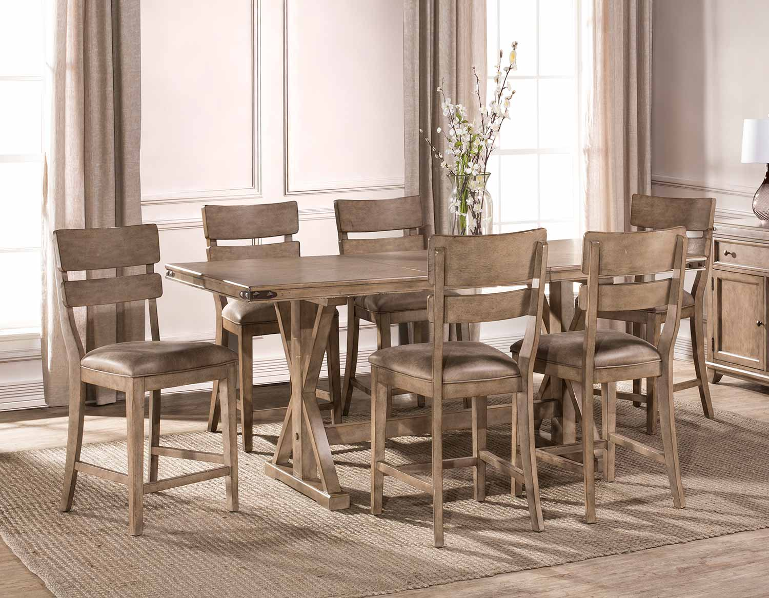 Hillsdale Leclair 7 Piece Counter Height Dining Set   Vintage Grey